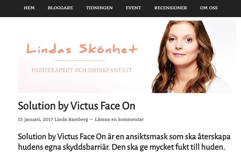 lindas skönhet blogginlägg face on victus